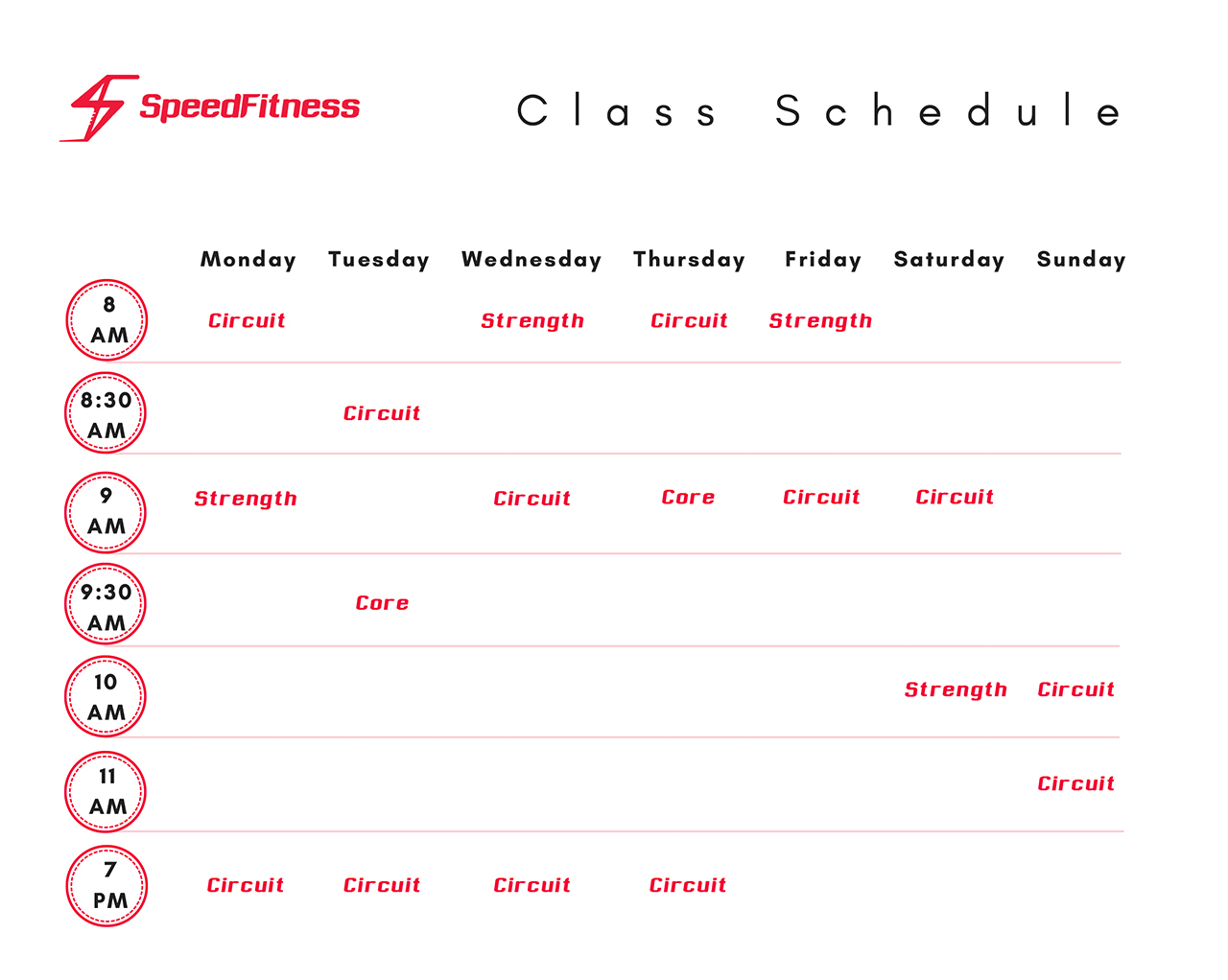 Speed Fitness May 2019 Schedule