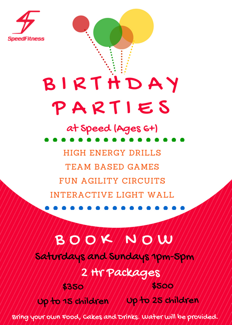 Speed Fitness Birthday Parties poster